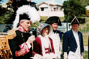 Re-enactment Sorrento , 200th anniversary 12 October 2003 (6), Wayne Cooper, unlady lady, Peter Lethbridge, Stephen Crothers - Copy
