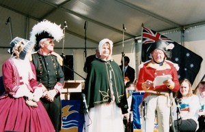 Re-enactment Sorrento , 200th anniversary 12 October 2003 (7), unknown lady, Wayne Cooper, Helen Cooper, Cal Johnston - Copy