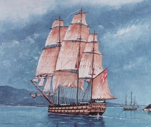The 'Calcutta' and 'Ocean' at anchor in Port Phillip Bay from a painting by Dacre Smith