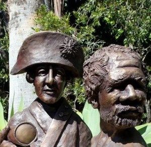 Captain Arthur Phillip and Aboriginal Man he met in Looking Glass Bay NSW