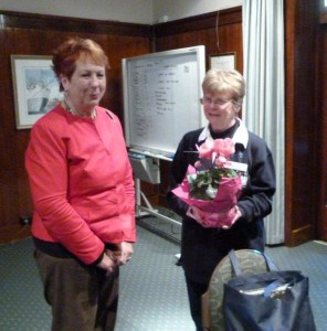 Member Anne Gibson about to present Edith with her thank you gift (C Timbury)
