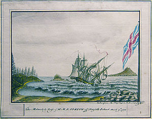 The melancholy loss of HMS Sirius off Norfolk Island 19 March 1790, George Raper