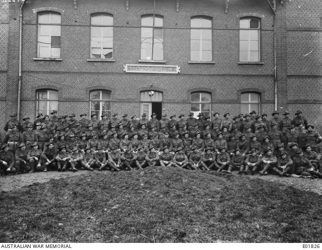 Belgium 20 February 1918 - 2nd Australian Machine Gun Company 14705 Pt WH Frost is in this group portrait (all other names are listed with the photograph on the AWM website)
