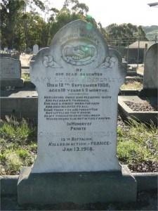 Don Congregational Church Tasmania - Charles Alfred Kimberley remembered on his sister's headstone