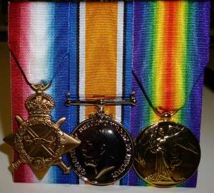 The 1914-15 Star, The British War Medal, The Victory Medal - replica set (C Timbury)