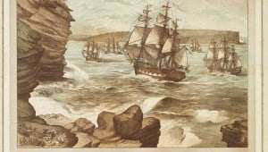 The First Fleet entering Port Jackson January 26, 1788  (E LeBihan 1888)