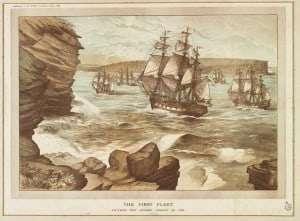 The First Fleet entering Port Jackson January 26, 1788  (E LeBihan 1888)