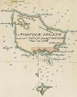 Norfolk Island 1790 by George Raper - Map Collection NLA RM3460