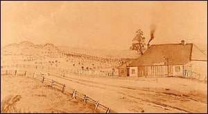Kinlochewe Inn (near Donnybrook) on the Merri Creek, Sydney Road, north of Melbourne. William Harley Budd owned this Inn 1844-1847