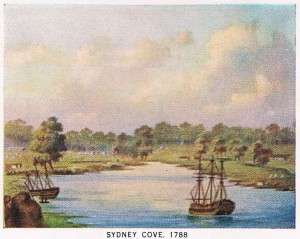Sydney Cove 1788, from An Historic Retrospect on the occasion of the 150th Anniversary Celebration of the Foundation of Australia for the schoolchildren of NSW