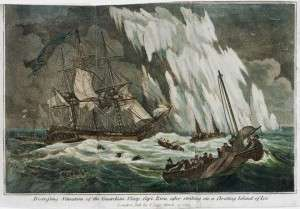 Distressing situation of the Guardian sloop, Capt Riou, after striking on a floating island of ice, by Thomas Tegg. The National Museum